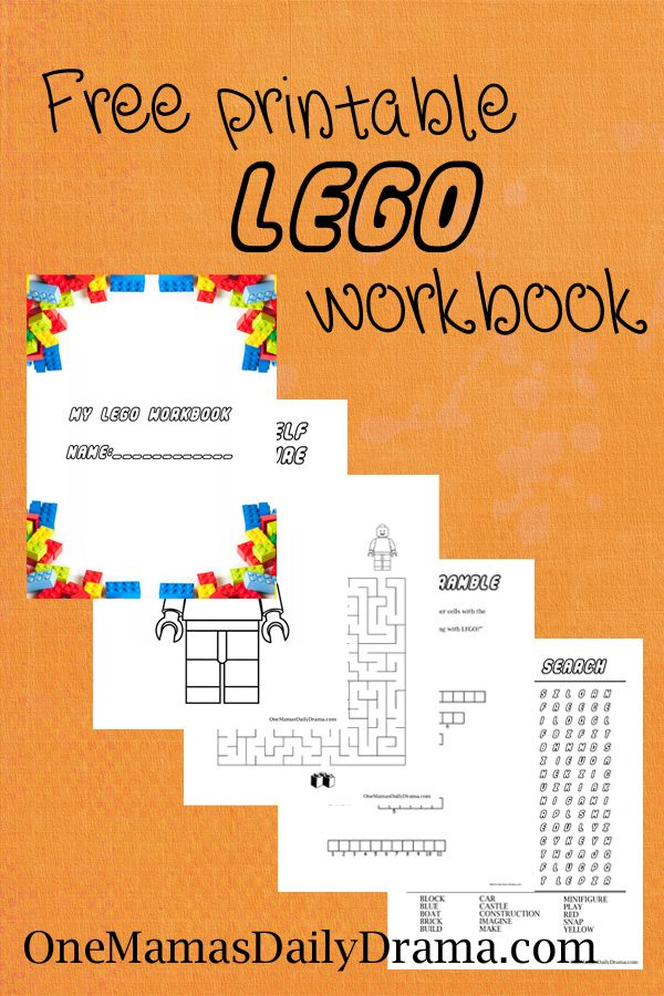 Free Printable LEGO Workbook | One Mama's Daily Drama --- This fun kids activity book includes four pages of puzzles! Lego-themed coloring page, maze, word scramble, and word search