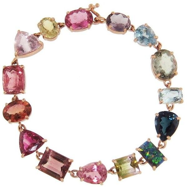 Multi-Color Tourmaline and Boulder Opal Bracelet ($23,140) ❤ liked on Polyvore featuring jewelry, bracelets, handcrafted jewelry, multi colored jewelry, colorful bangles, colorful jewelry and irene neuwirth jewelry