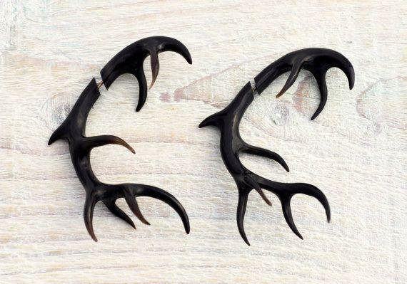 Antler Deer Fake Gauges Earrings Black Horn by organicethnic, $54.00