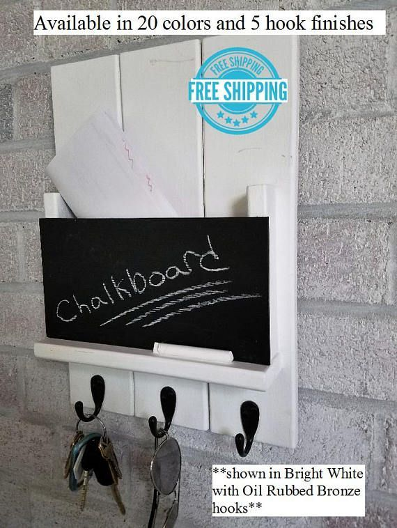 Sydney Mail Slot With Chalkboard Choose 20 Colors Up To 3 Hooks Mail And Key Holder Mail Organizer Key Hooks Bright Ivory White Sachen Handarbeit Praktisch