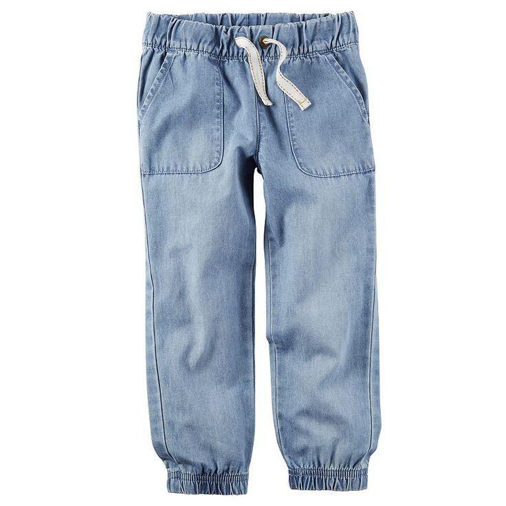 Girls 4-8 Carter's Chambray Denim Jogger Pants, Blue Other