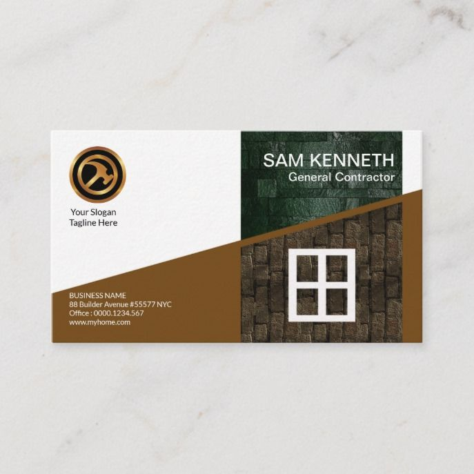 Stylish Creative Side Brick Walls Construction Business Card Zazzle Com Construction Business Cards Construction Business Business Cards