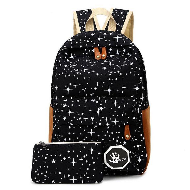 Bagagem & Sacos de Estrela Da Moda Das Mulheres Dos Homens Da Lona Mochila Mochilas sacos de Viagem Mochila Saco de Escola Para A menina Menino Adolescentes Casuais