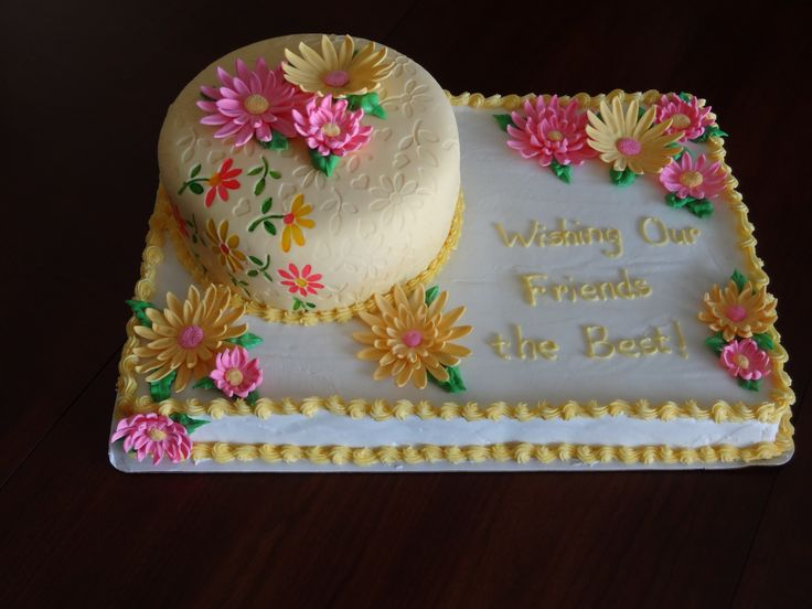 Fondant With Floral Impressions Cake On Sheet Cake With