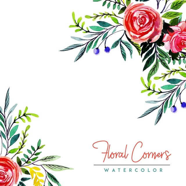 Watercolor Floral Corners Multi Purpose Background Watercolor