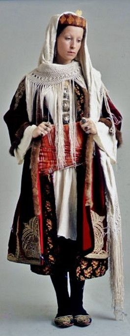 The bridal/festive costume of Kastelorizo Island (a few km south of Kaş). Early 20th century. The costume's distinctive components indicated the woman's social standing and life cycle (engaged, married or widowed).