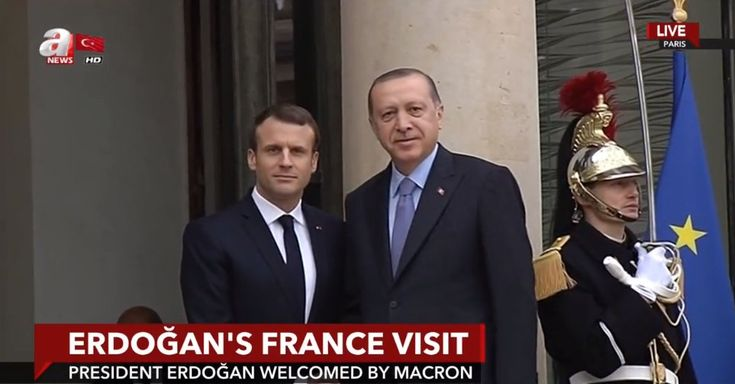President Recep Tayyip Erdoğan welcomed by his French counterpart Emmanuel Macron at the Elysee Palace in Paris