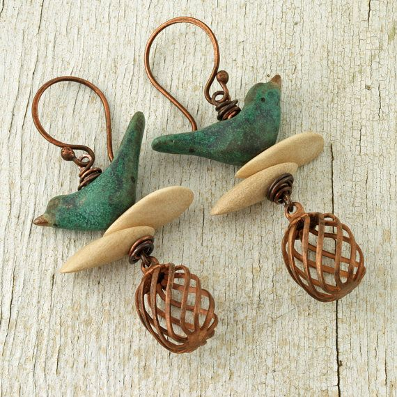 Bird+Earrings+Copper+Bird+Cage+Earrings+Bird+by+ForTheCrossJewelry,+$45.00