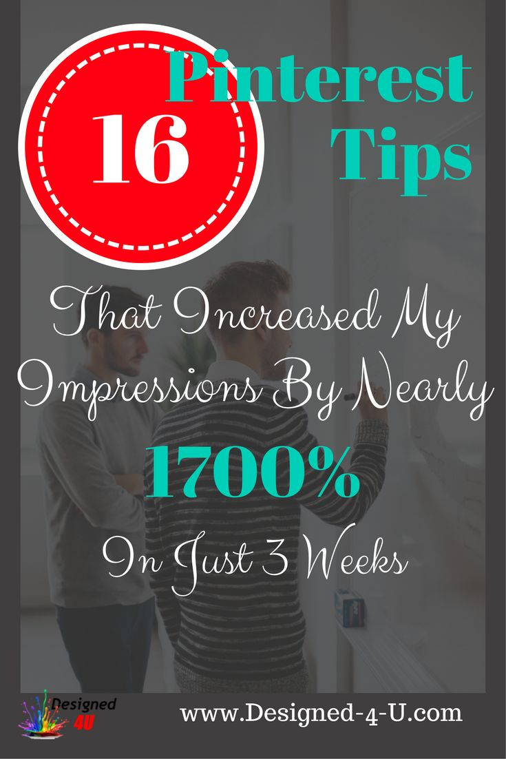 Discover How I changed 16 things on my Pinterest account and improved my impressions by nearly 1700% in just 3 weeks ... Some great pinterest tips for beginners or others that just want to take it to the next level. REPIN FOR LATER