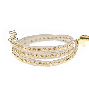 Anne Leather Bracelet in Ivory with gold studs