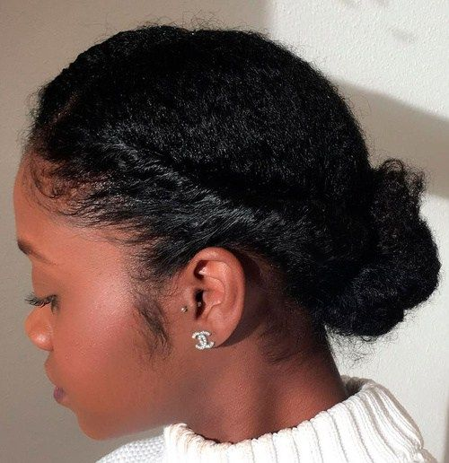 Simple Low Bun Updo For Natural Hair