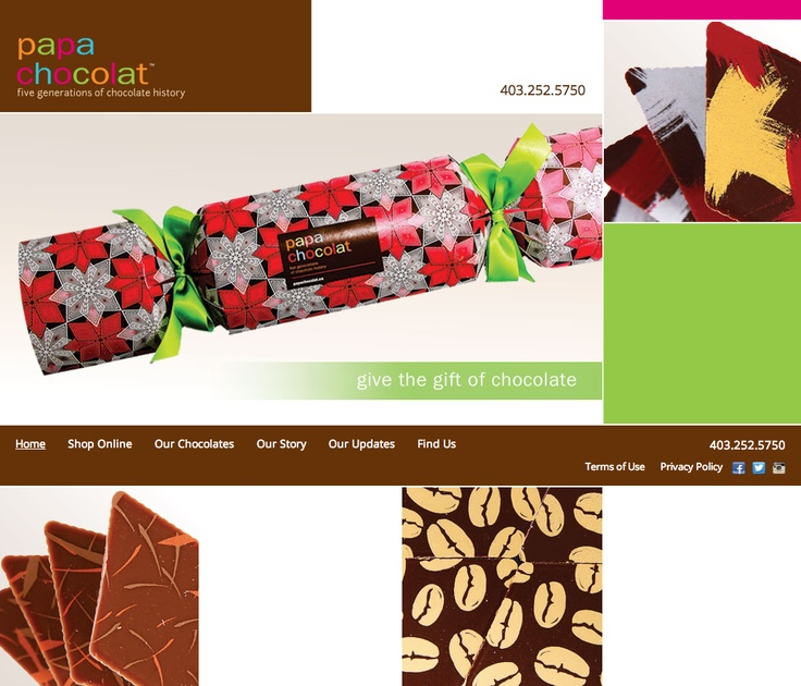Just in time for Christmas, the shiny new website for Papa Chocolat. It includes an online store to find the perfect gift for any chocolate lover.