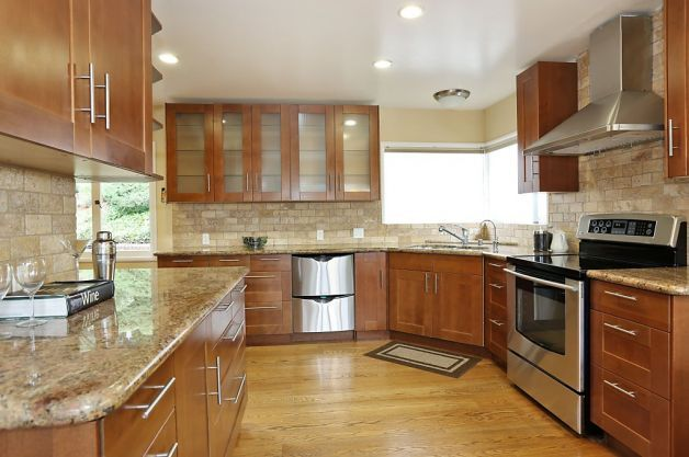 Awesome Oak Cabinets with Stainless Steel Appliances