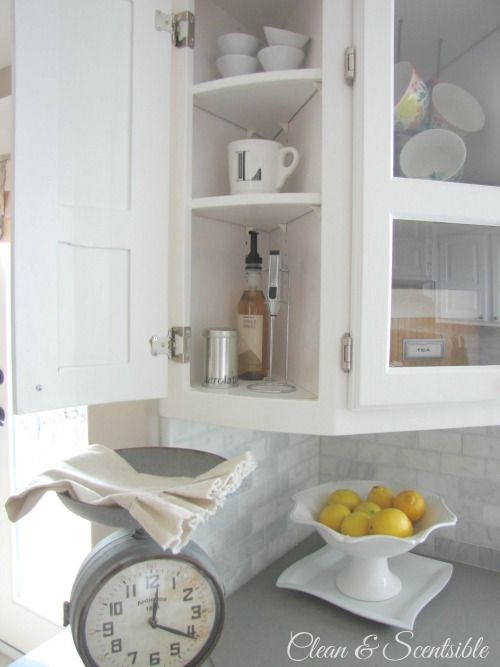 Set up a coffee or tea station in an awkward-sized kitchen cabinet.