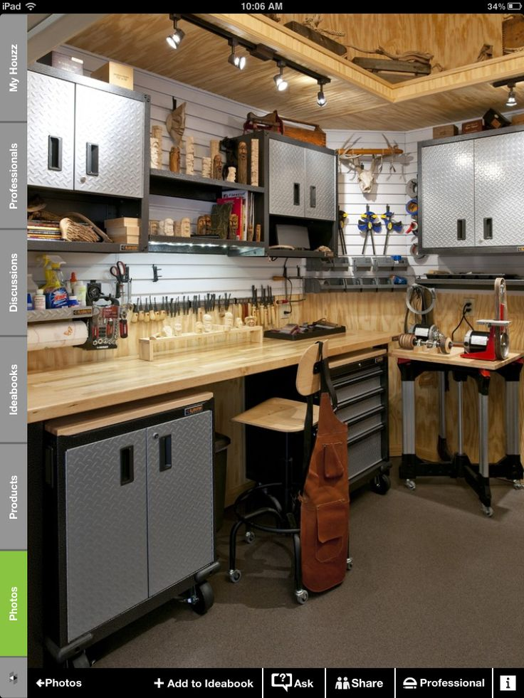 Garage idea workbench setup option purchased work for Garage design ideas gallery
