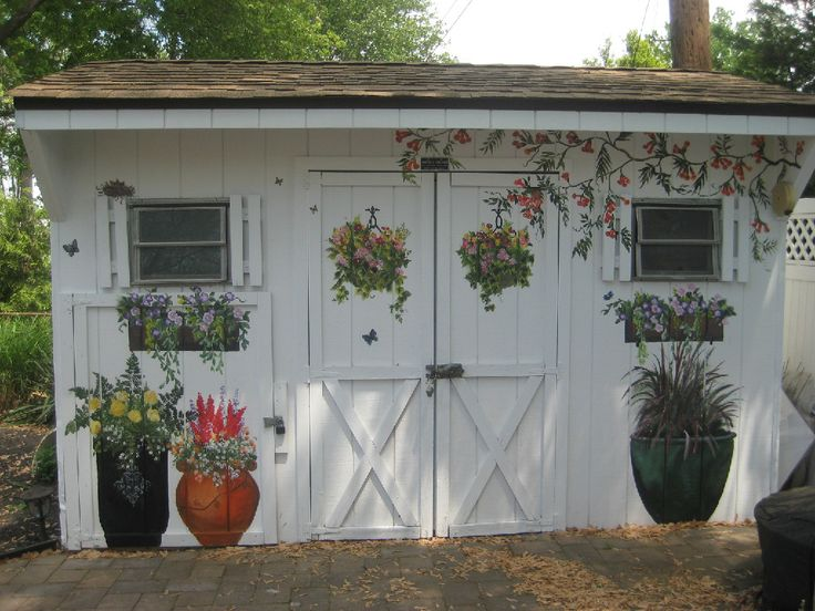 Gardening shed || Gorgeous decorative and painted murals by Nancy Billy Maher, The Painted Garden http://www.nancyspaintedgarden.com/