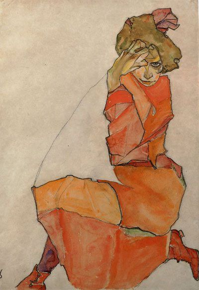 Kneeling Female in Orange-Red Dress, Egon Schiele, 1910