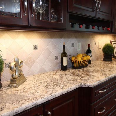 Espresso Kitchen Cabinets With Granite Counter Tops Except Stone Instead Of Tile On The Wall