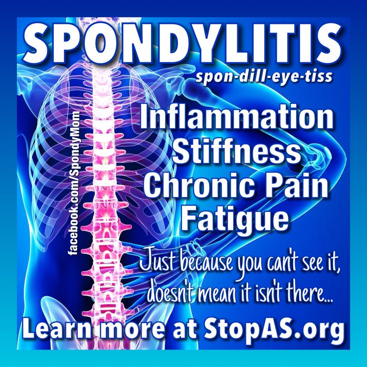 Spondylitis➔ A chronic, degenerative, systemic, inflammatory arthritis that affects 33 million people worldwide, yet most folks have never heard of it. Often referred to as an 'invisible illness' because those affected usually 'don't look sick' however, just because you can't see it doesn't mean it isn't there. Awareness=Change! *Learn more about this debilitating disease by visiting the SAA at www.StopAS.org