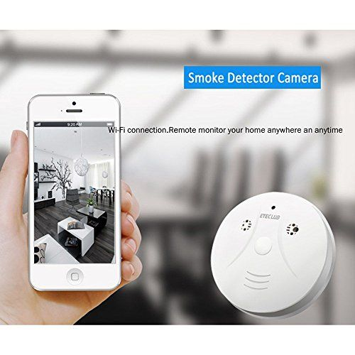 Eyeclub Wi-Fi Smoke Detector Camera [with One More Mini DV] Wireless IP Camera 1080P HD Motion Activated Video Recorder Mini DVR Security Cam, Support Android/iOS