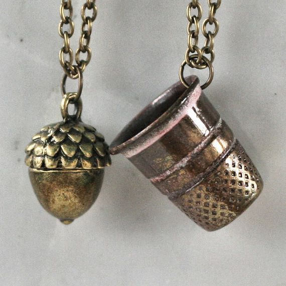 Peter Pan & Wendy Kiss Thimble and Acorn Necklace by HooliganAlley, $45.00