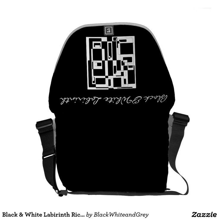 Black & White Labirinth Rickshaw Messenger Bag