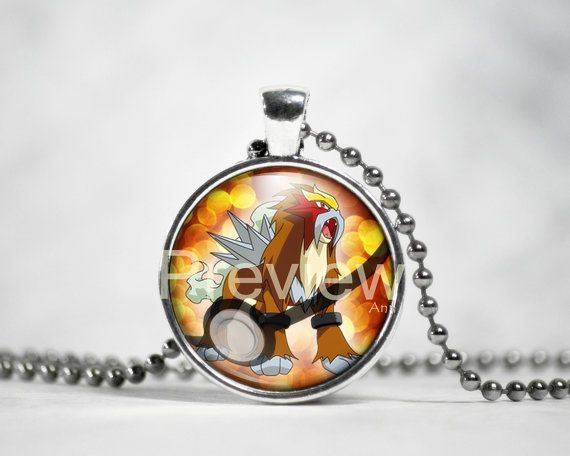 Entei Pokemon Pendant Pokemon Necklace with ball by PokemonyByAnn