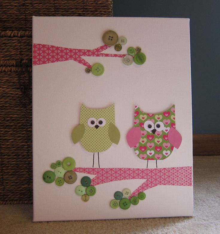 Children's Room Canvas Art, Nursery decor,  11 x 14, owls on tree, cute as a button, pink, lime green, via Etsy.