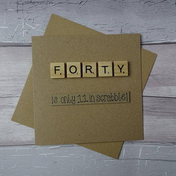 40th birthday card Fortieth Scrabble card Funny birthday