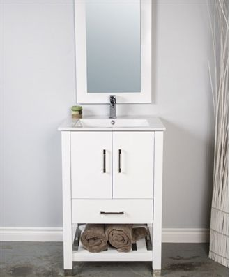 A 24 Inch Bathroom Vanity With Open Bottom Shelf For Towels Or Basket. This  Vanity