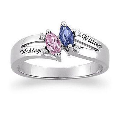 Sterling Silver Couple's Simulated Marquise Birthstone Ring with Diamond Accents (2 Stones & 2 Names) - Gordon's Jewelers