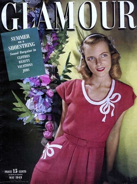 1943 - Glamour Magazine 40s red day dress short sleeves white bow at collar belt summer casual party 40s color photo model