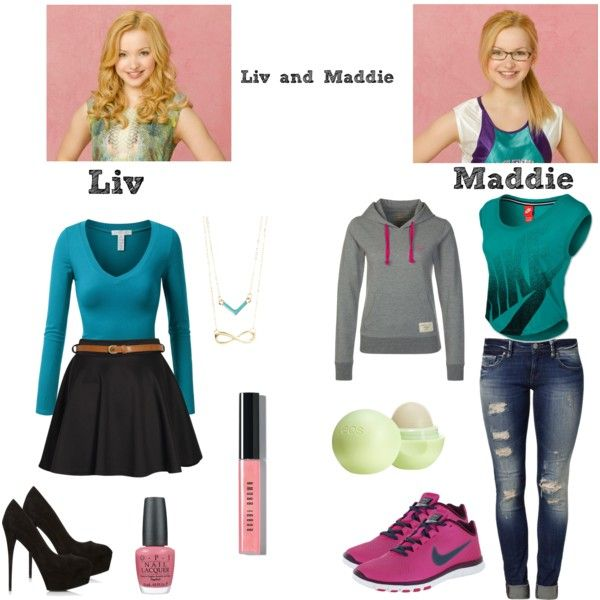 Liv and Maddie by poprocks18 on Polyvore featuring Russell Athletic, J.TOMSON, Mavi, Boohoo, NIKE, Forever 21, Bobbi Brown Cosmetics, Eos, OPI and Disney