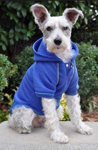Fleece Lined Sport Sweatshirt Hoodie for Dogs in Color Nautical Blue