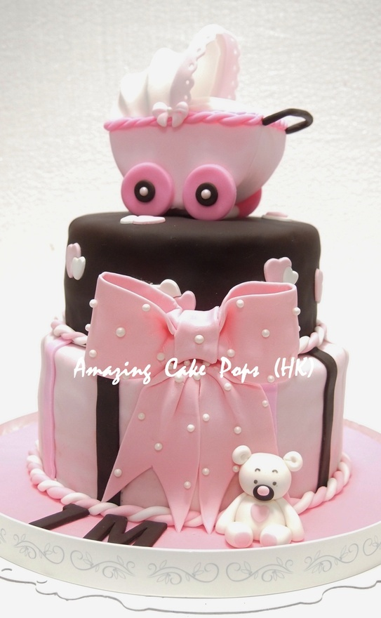 New Baby Cake Images : 3D Stroller Cake for New Born Baby Girl Fancy Cakes ...