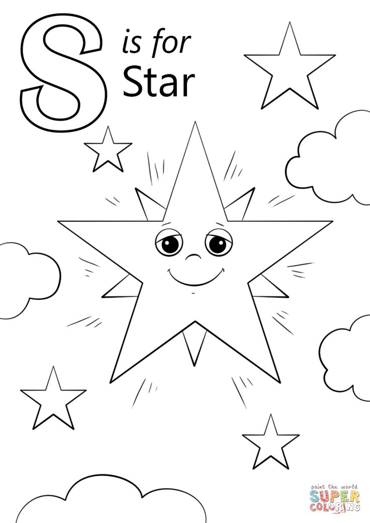 Letter S is for Star | Super Coloring | 01Coloring ABC ...