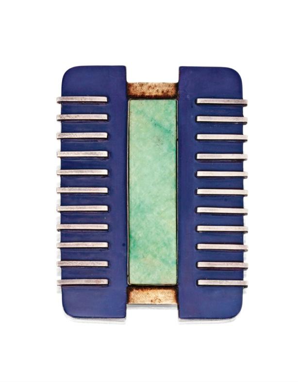 Silver gold hardstone and enamel brooch jean despr s for Objet decoration design contemporain