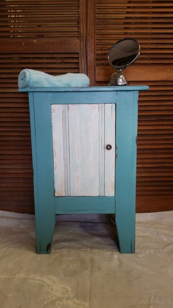 Oak cabinet painted in Everlong Kingfisher with white wash effect door - Forevermoore Interiors - 1