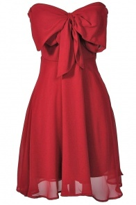 Oversized Bow Chiffon Dress in Ruby