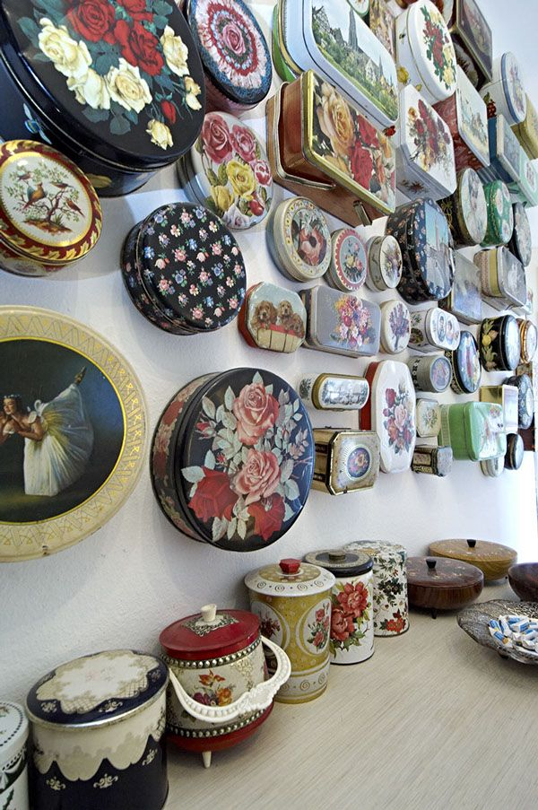 Die Designerin Susanne Bisovsky on Photography Served A beautiful way to display your vintage tin collection,