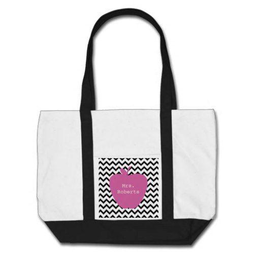 Pink Apple Black Chevron Teacher Tote Bag