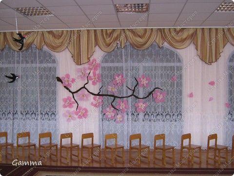 Бумагопластика - Оформление зала выставка на 8 марта