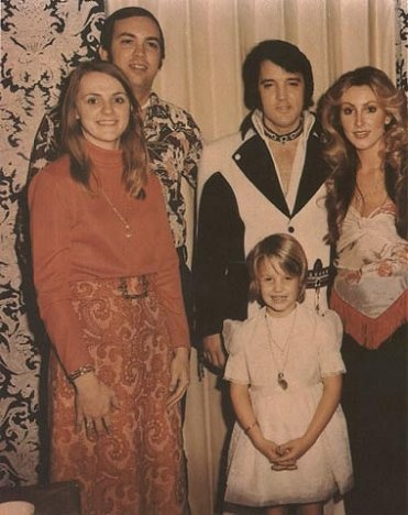 Sam Thompson, his wife, and Elvis and Linda Thompson with Lisa Marie in August 1975