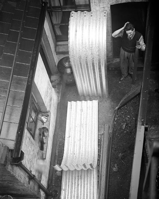 A man puzzles out how to assemble sheets of corrugated iron into an Anderson air raid shelter in his backyard, 1939.