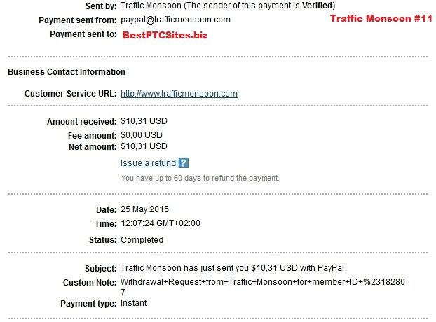 Traffic Monsoon Payment No11  http://bestptcsites.biz/