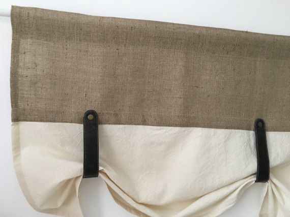Burlap Curtains Kitchen Valance Faux Leather Tie Up by RusticTale