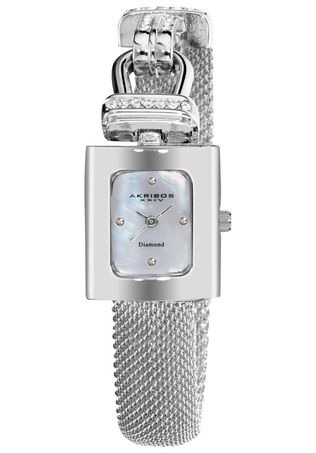 Price:$84.99 #watches Akribos XXIV AK510SS, This exceptional timepiece from Akribos XXIV showcases a mother of pearl dial with four genuine diamonds. This women's watch offers a rose-tone metal case with crystals accents on the bezel and on the mesh bracelet.