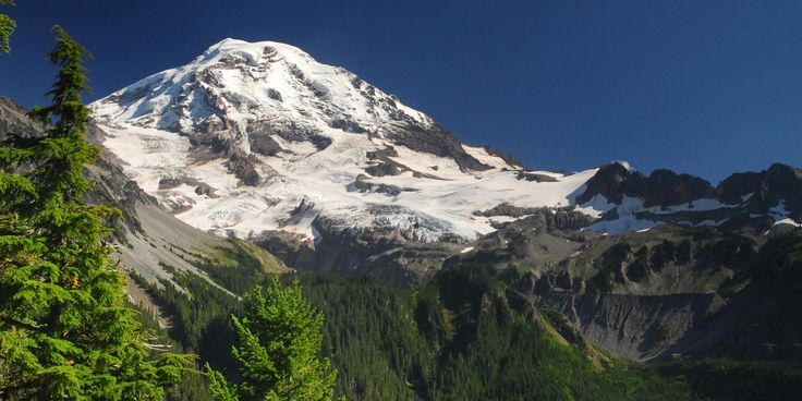 Mount Rainier (14,411') from Eagle Cliff viewpoint en route to Spray Falls + Park.- Mount Rainier's 7 Best Day Hikes