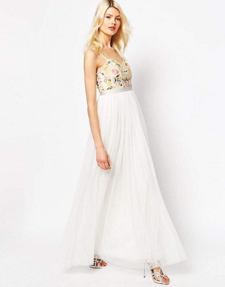 Image 1 of Needle & Thread Embroidery Floral Tulle Maxi Dress