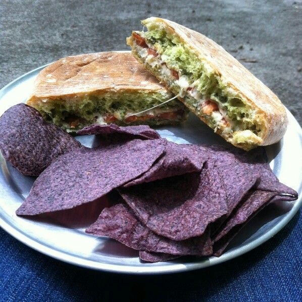 Our Caprese panini sandwich with organic blue corn chips #felicitouscoffee